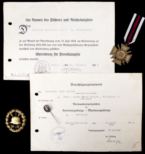 Verwundetenabzeichen in Mattgelb / Woundbadge in gold + Frontkämpfer cross + citations