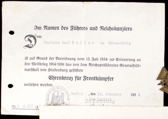 Verwundetenabzeichen in Mattgelb / Woundbadge in gold + Frontkämpfer cross + citations