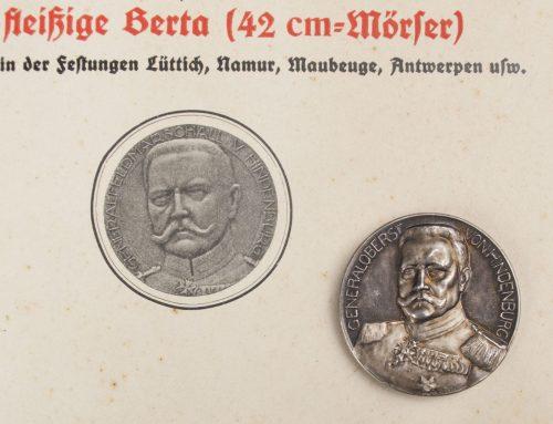 WWI - Originalmünze Mit Hindenburg / Hindenburg commemorative coin + paper
