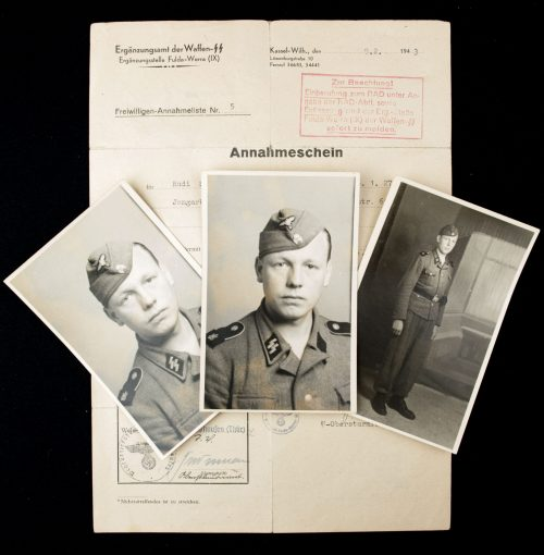 Waffen SS group Freiwilligen-Annahmelist + 3 uniform photo's.