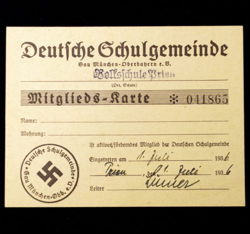 Deutsche Schulgemeinde Mitgliedskarte Volksschule Trier
