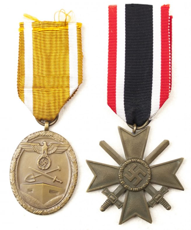 Deutsche Schutzwall Ehrenzeichen (Westwall) + Kriegsverdienstkreuz (KVK) group