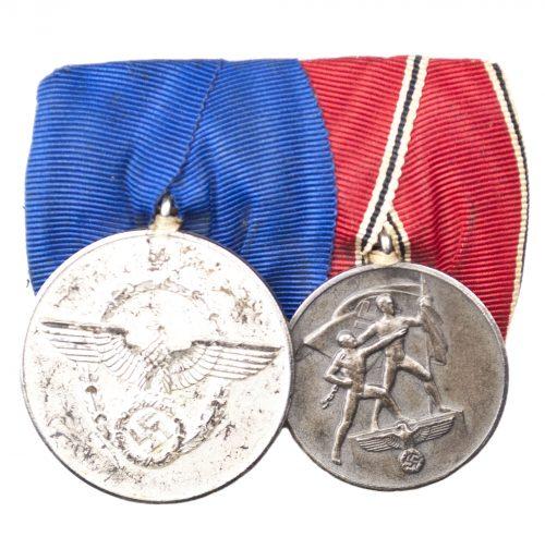 Double medalbar with Polizei Dienstauszeichnung + Anschlussmedaille