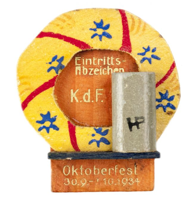 Eintrittsabzeichen K.D.F. Oktoberfest 30.9.-7.10.1934