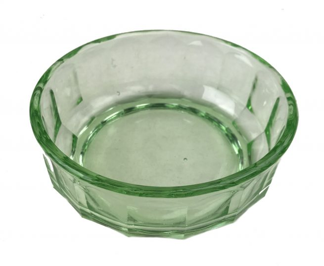 Green glass Olympia 1936 bowl + lid / Olympic Games 1936