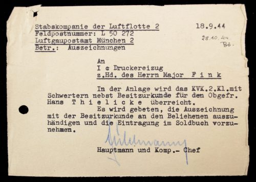 Kriegsverdienstkreuz + Citation + KVK Document of Obergefreiten Hans Thielicke