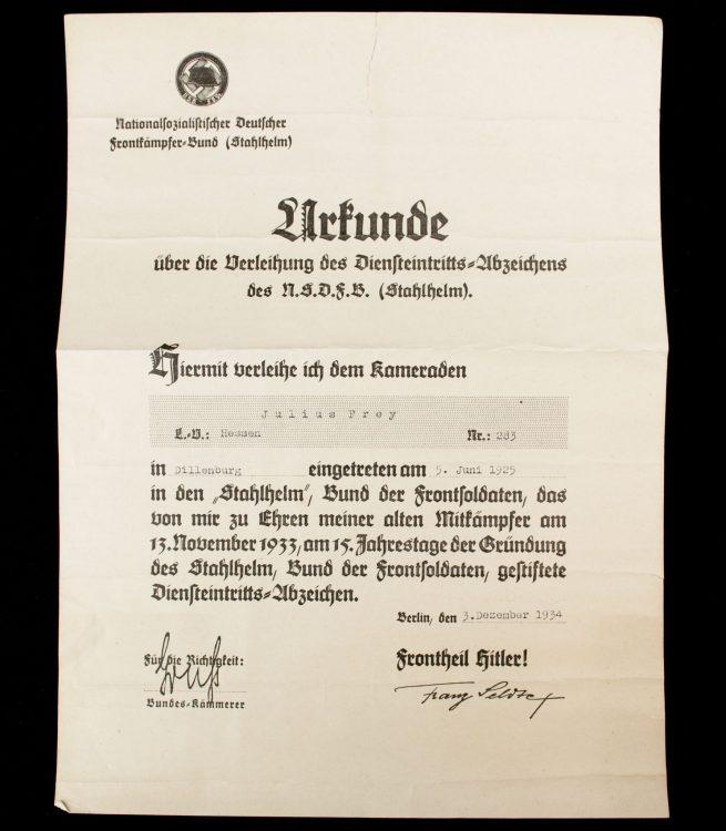 N.S. Frontkämpferbund (Stahlhelm) Urkunde über die Verleihung des Diensteintrittsabzeichens des N.S.F.B.S