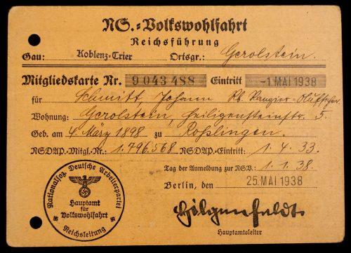 NS Volkswohlfahrt Mitgliedskarte (Gerolstein)1938