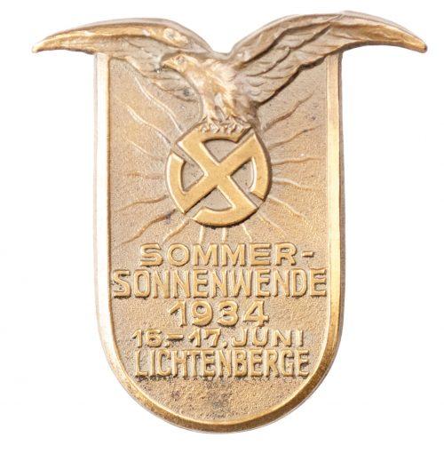 NSDAP Sommersonnenwende 16.-17. Juni Lichtenberge 1934 badge