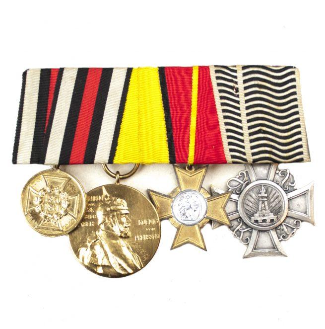 Ordensspange / Medalbar Baden with Kriegsverdienstkreuz, Kyffhäusercross, 1871 medal, Centenary medal
