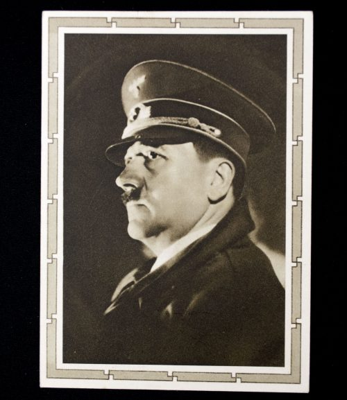 "Postcard: Hitler with ""Deutsch die Saar"" stamp"