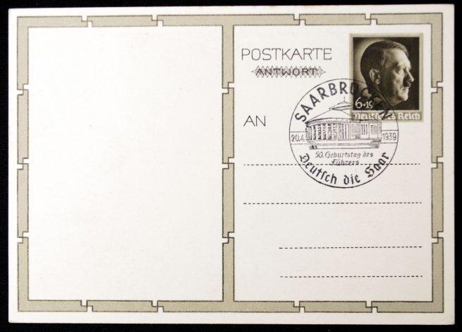 "Postcard: Hitler with ""Deutsch die Saar"" stamp"