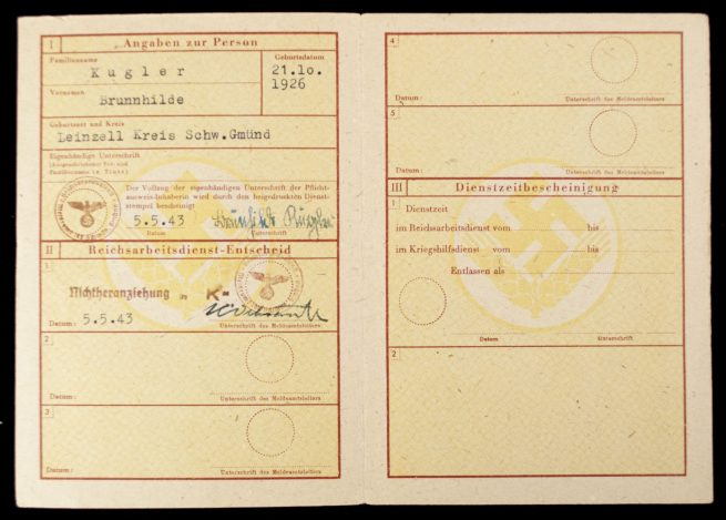 (RAD) Reichsarbeitsdienst für die Weibliche Jugend - Pflichtausweis