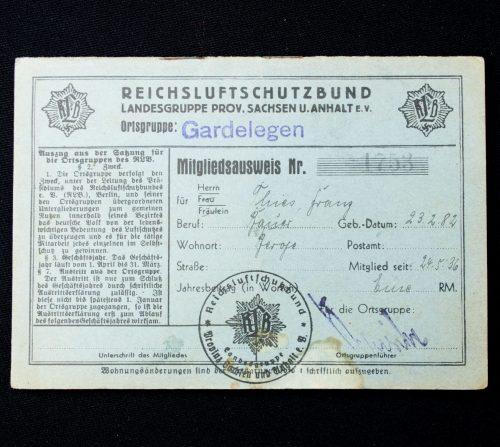 Reichsluftschutzbund Landesgruppe Prov. Sachsen u. Anhalt e.v. Ortsgruppe Gardelegen Mitgliedsausweiss