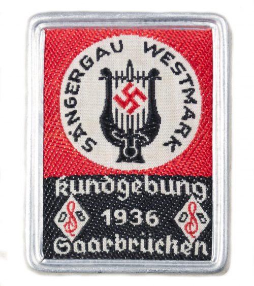 Sängergau Westmark Kundgebung 1936 Saarbrücken abzeichen