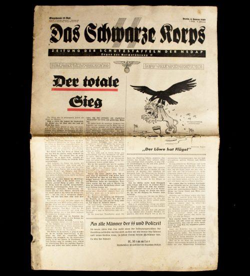 SS Newspaper - Das Schwarze Korps 4. Januar 1940 (1. Folge 6. Jahrgang)