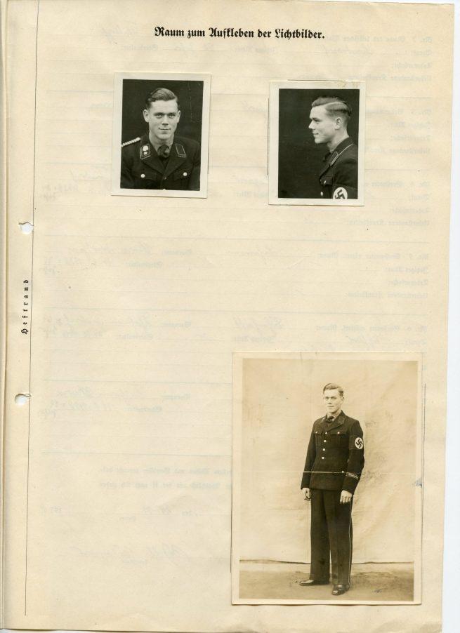 SS-Totenkopfverbände Dienstausweis + SS-Aufnahme und Verpflichtungsschein + foto's