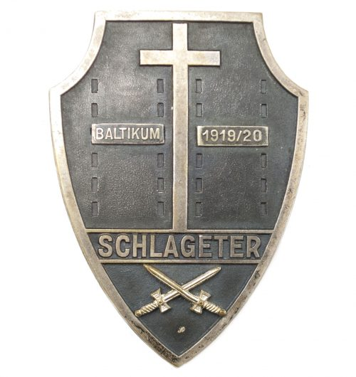 "Schlageter Shield (First Model) with swords and ""Baltikum 1919/1920"" attachments"