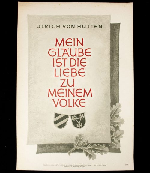WWII German NSDAP Wochenspruch (propaganda miniposter) – Ulrich von Hutten