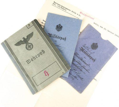 WWII Wehrpass Heer (Freikorps Halle) + WOI Militärpass + Hülle