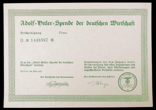 Adolf Hitler Spende Der Deutschen Wirtschaft 1937 citation
