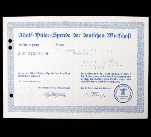 Adolf Hitler Spende Der Deutschen Wirtschaft 1939 citation