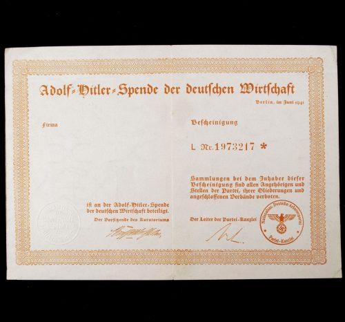 Adolf Hitler Spende Der Deutschen Wirtschaft 1941 citation