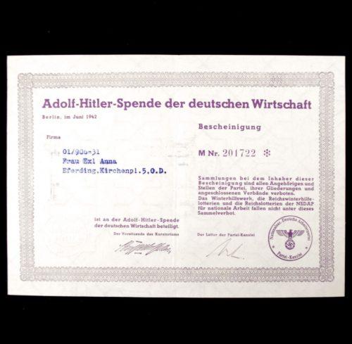 Adolf Hitler Spende Der Deutschen Wirtschaft 1942 citation