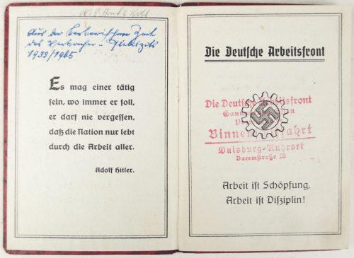 Deutsche Arbeitsfront (DAF) Mitgliedsbuch with contribution 86 stamps