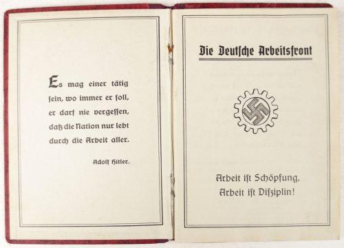Deutsche Arbeitsfront (DAF) Mitgliedsbuch with contribution 89 stamps