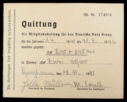 Deutsche Rote Kreuz (DRK) - 5 x Quittung 1940 - 1944