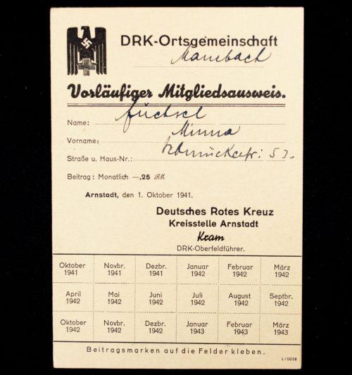 Deutschen Roten Kreuzes (DRK) Vorläufiger Mitgliedsausweis Kreisstelle Arnstadt
