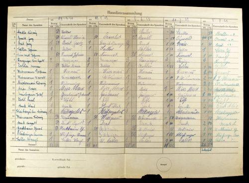 Kriegshilfswerk für das Deutsche Rote Kreuz (DRK) Sammelliste (1941/1943)
