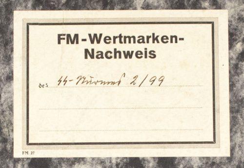 SS-FM-SS-Fördernde-Mitglieder-Wertmarked-Nachweis-book-from-1939-RARE