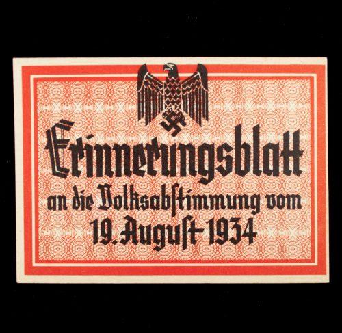 Saar Erinnerungsblatt an die Volksabstimmung vom 19. August 1934