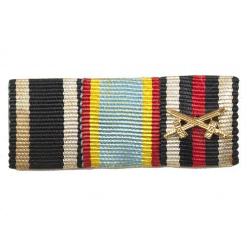 WWI Mecklenburg-Schwerin ribbonbar with Iron Cross, Militärverdienstkreuz, frontkämpfer Ehrenkreuz