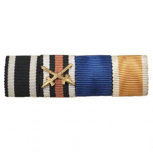 WWI/WWII ribbonbar with Iron Cross, Frontkämpfer Ehrenkreuz, Dienstauszeichung, Volkspflege medal