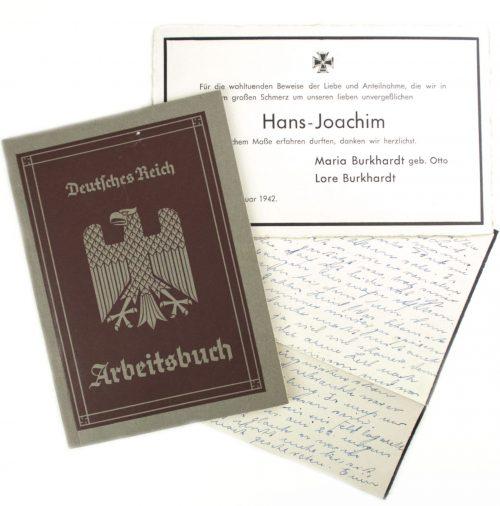 Arbeitsbuch Arbeitsamt Ulm + death letter (1942)