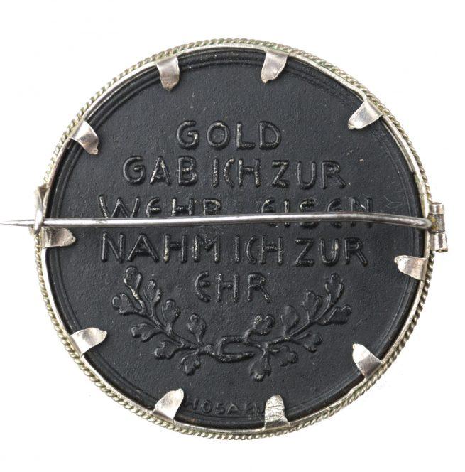 """Brooch """"Gold gab Ich Für Eisen""""."""