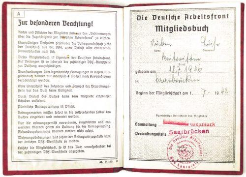 Deutsche Arbeitsfront (DAF) Mitgliedsbuch (variation)