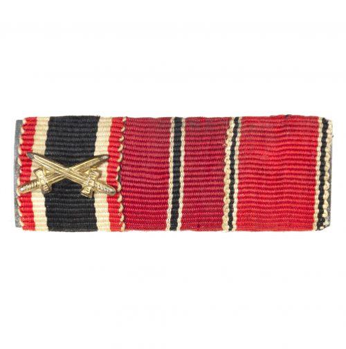 Feldspange / Ribbonbar with Kriegsverdienstkreuz, Ostmedaille, Anschlussmedaille