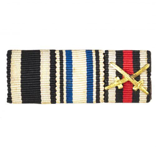 Feldspange / Ribbonbar with WWI Ek2, Bayern Militair Verdienstkreuz, Frontkämpfer Ehrenkreuz