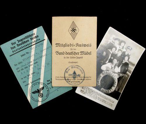 HJ / Bund Deutsche Mädel (BDM) Mitgliedsausweis + Auslandsfahrtenstelle pass to England!