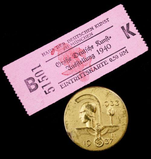 Haus der Deutschen Kunst 1937 abzeichen + 1940 entrance ticket