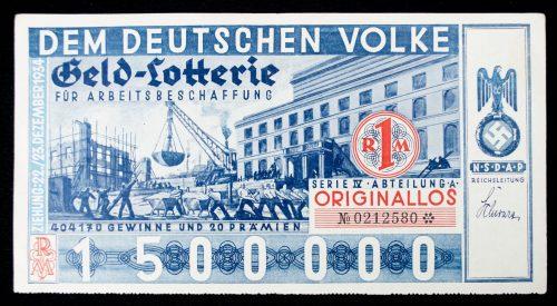 NSDAP Lottery ticket - Geld Lotterie für Arbeitsbeschaffung