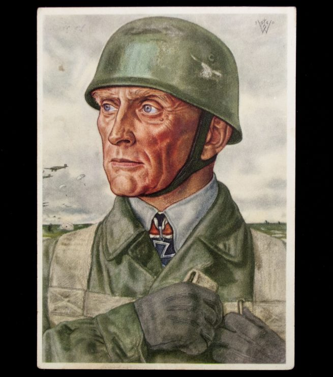 Postcard: W. Willrcih Oberst Bräuer Kommandeur eines Fallschirmjäger Regimentes
