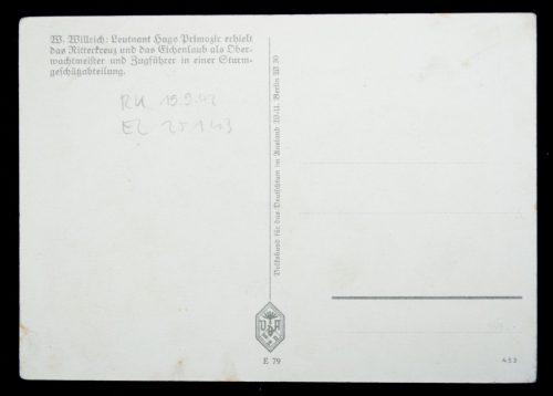 Postcard: W. Willrich Leutnant Primozic (RK recipient)
