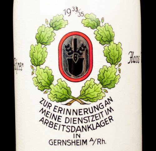 Reichsarbeitsdienst (RAD) commemorative Beerstein for Arbeitsdankservice in Arbeitsdanklager Gernsheim 1935