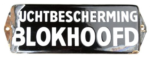 """WWII Luchtbeschermingsdienst (LBD) doorshield """"Blokhoofd Luchtbescherming"""" from Arnhem"""