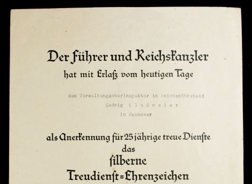 Citation Treudienst Ehrenzeichen 25 jahre (Loyal Service Cross for 25 Years)